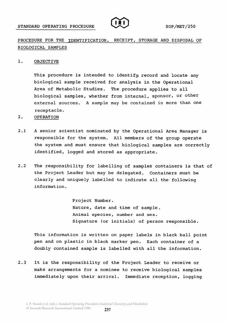 SOP/MET/250 Procedure for the Identification, Receipt, Storage and ...