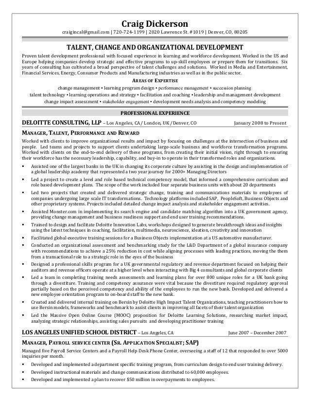 Craig Dickerson Resume; Talent Management Organizational Development
