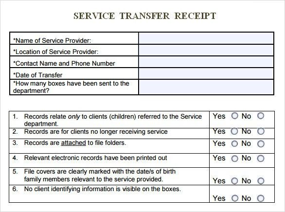 Sample Service Receipt Template - 9+ Free Documents in PDF, Word
