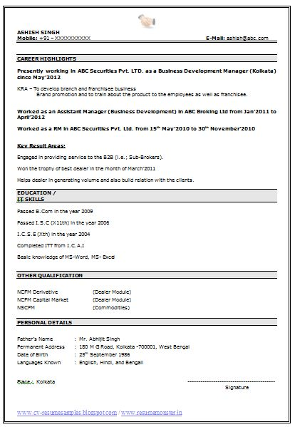 Fascinating Resume Samples For Experienced In Word Format 20 With ...