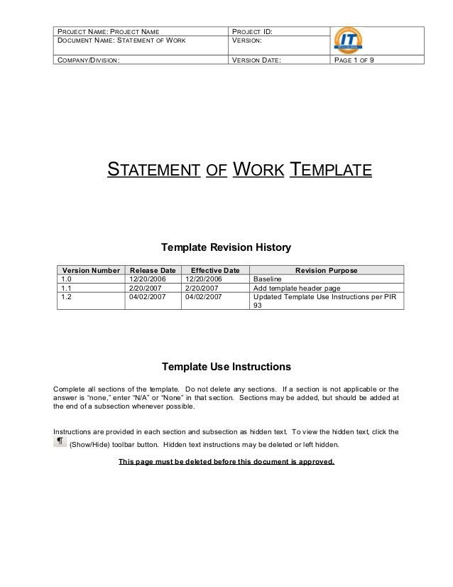 Statement Of Work Template - Resume Templates