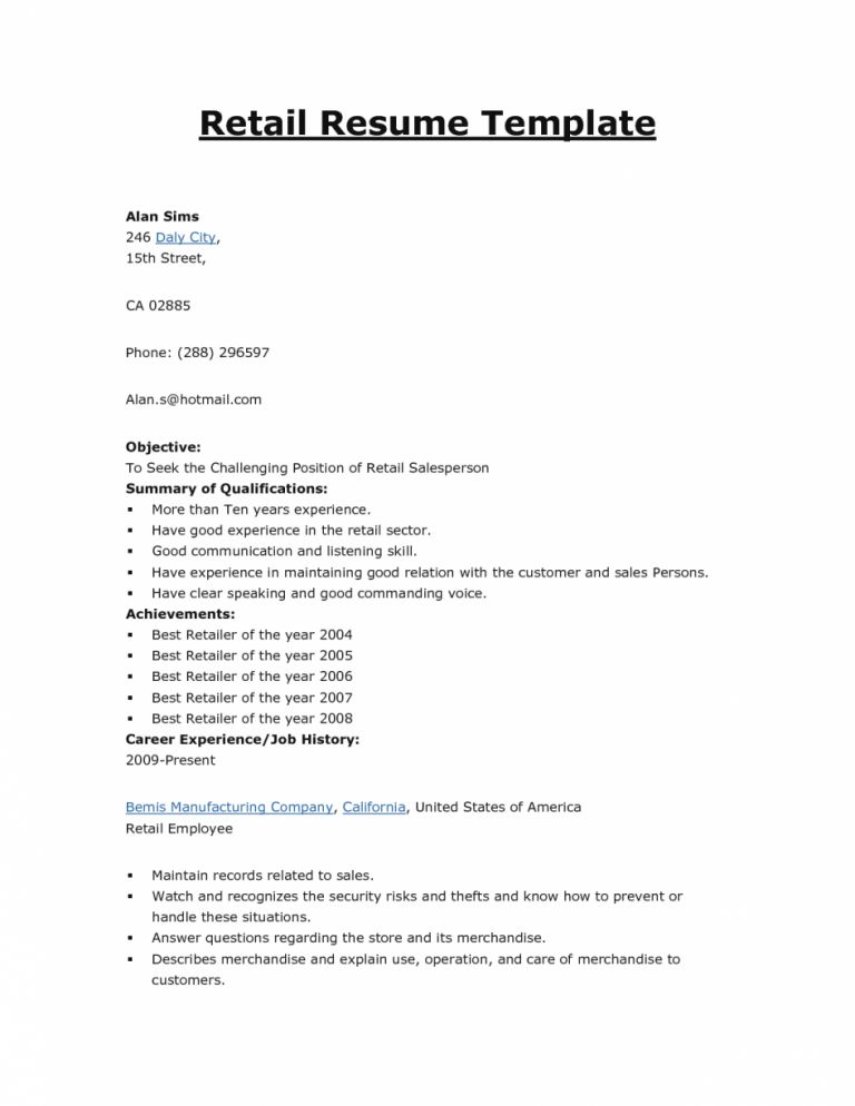 First-Class Resume Objective For Retail 8 - CV Resume Ideas