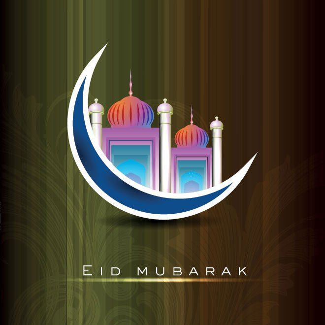 Free Vector Vector colorful mosque logo with blue moon eid card ...