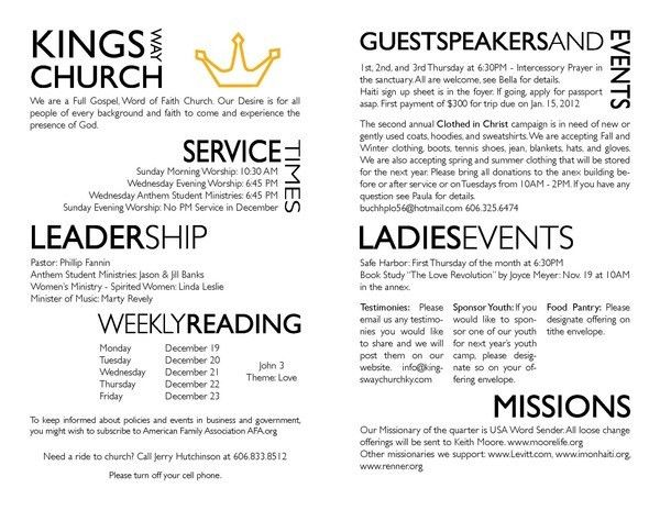 church bulletin templates | Church Bulletins | sweet prospect ...