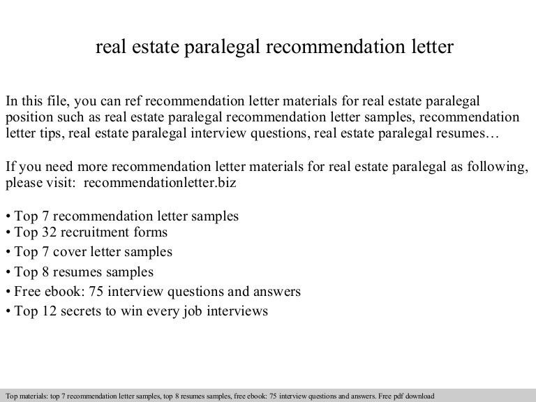 Real estate paralegal recommendation letter