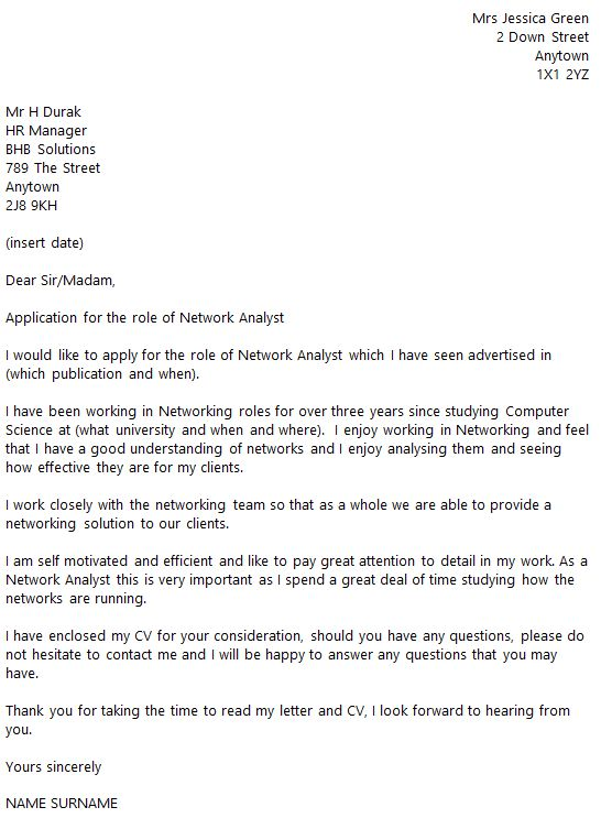 Network Analyst Cover Letter Example - icover.org.uk