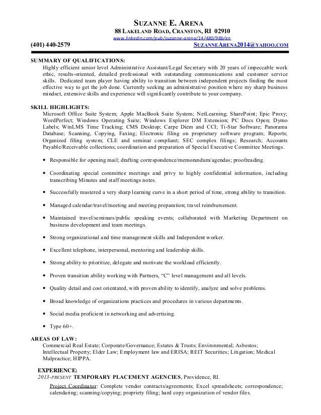 RESUME 3.15 - Executive Admininistrative Assistant-Legal Secretary