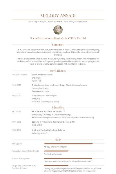 Social Media Consultant Resume samples - VisualCV resume samples ...