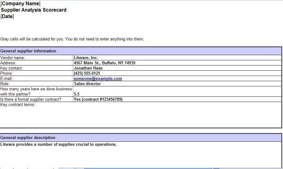 Supplier Scorecard Excel Template | Supplier Scorecard