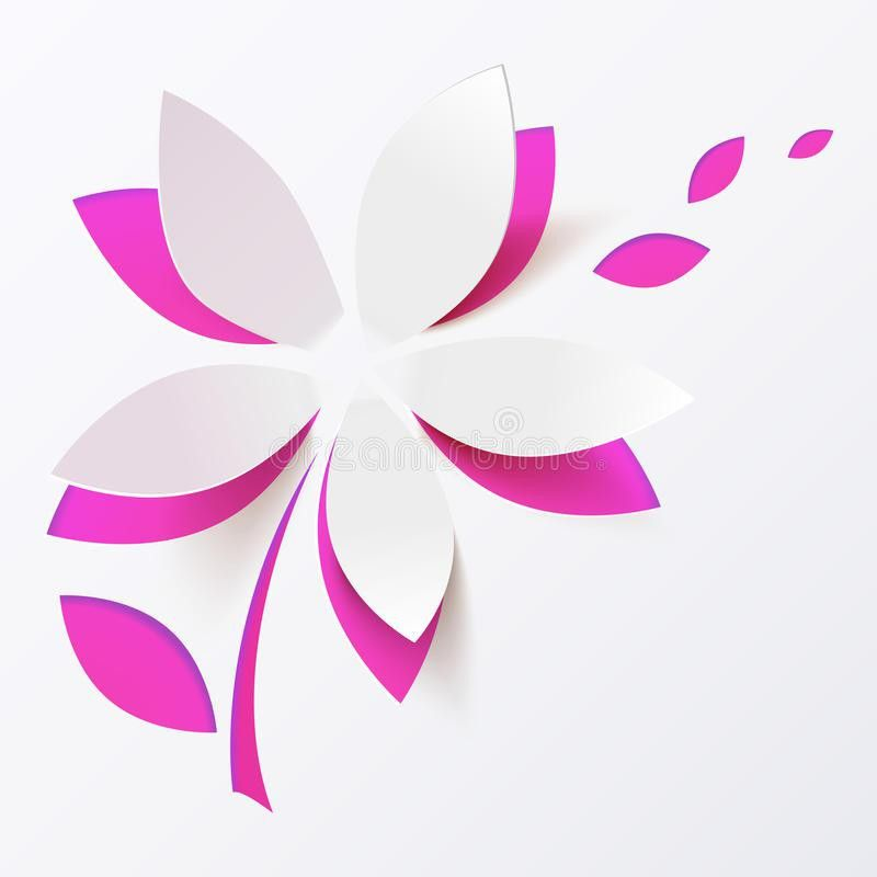 Pink Paper Flower Vector Greeting Card Template Royalty Free Stock ...