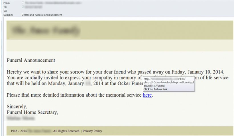 "Fake ""Death and Funeral Announcement"" Emails Carry Malicious Links"
