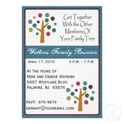 Family Tree Reunion Invitation-+ Card | Family reunion invitations ...