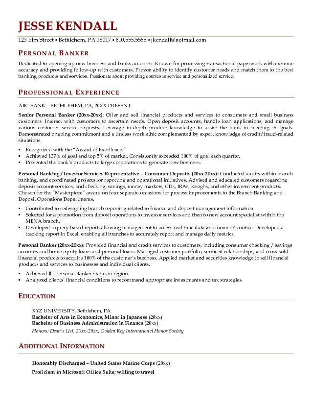 Download Personal Banker Resume | haadyaooverbayresort.com