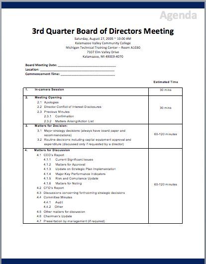 Board of Directors Meeting Agenda Template | Printable Meeting ...