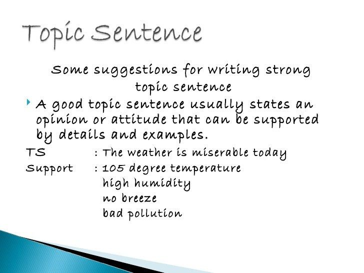 Essay with topic sentence examples