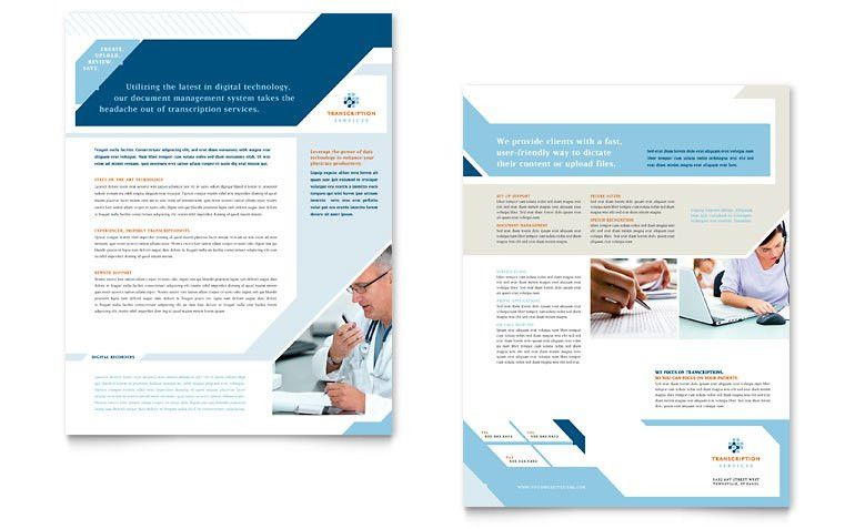 Medical Transcription Datasheet Template - Word & Publisher