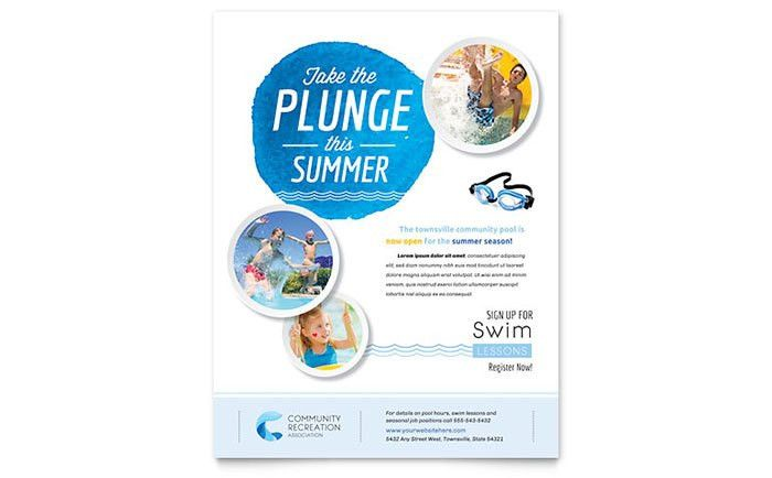 Community Swimming Pool Flyer Template Design