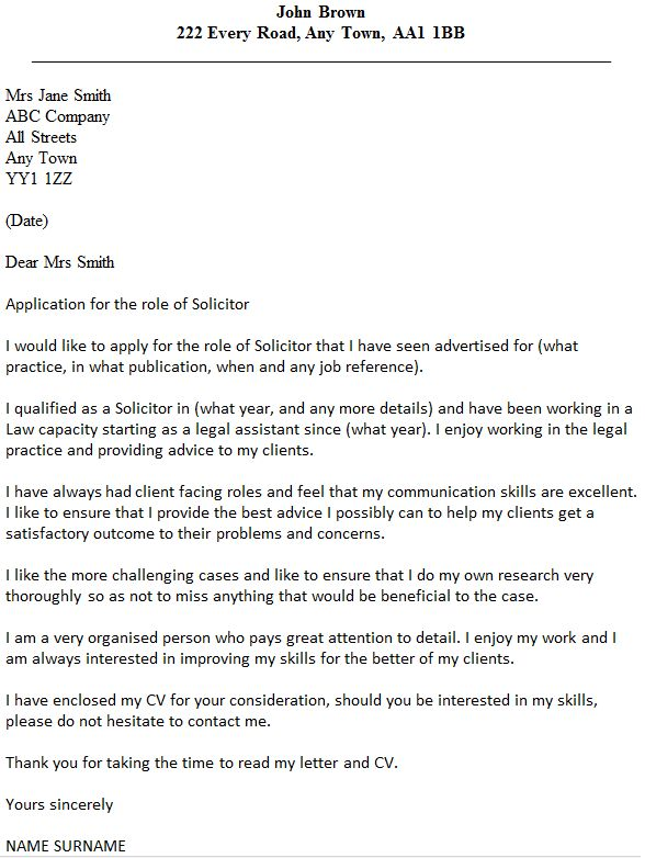 Solicitor Cover Letter Example - icover.org.uk