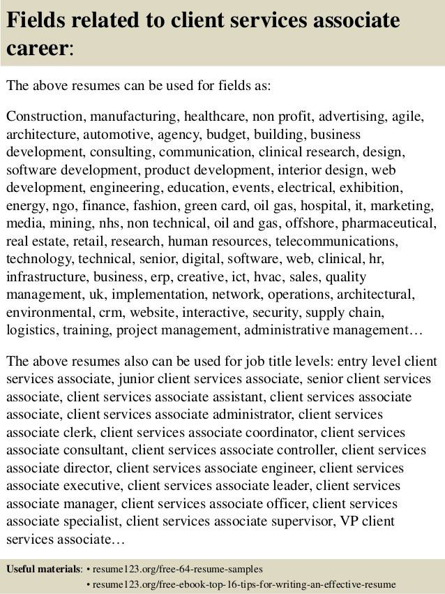 Top 8 client services associate resume samples