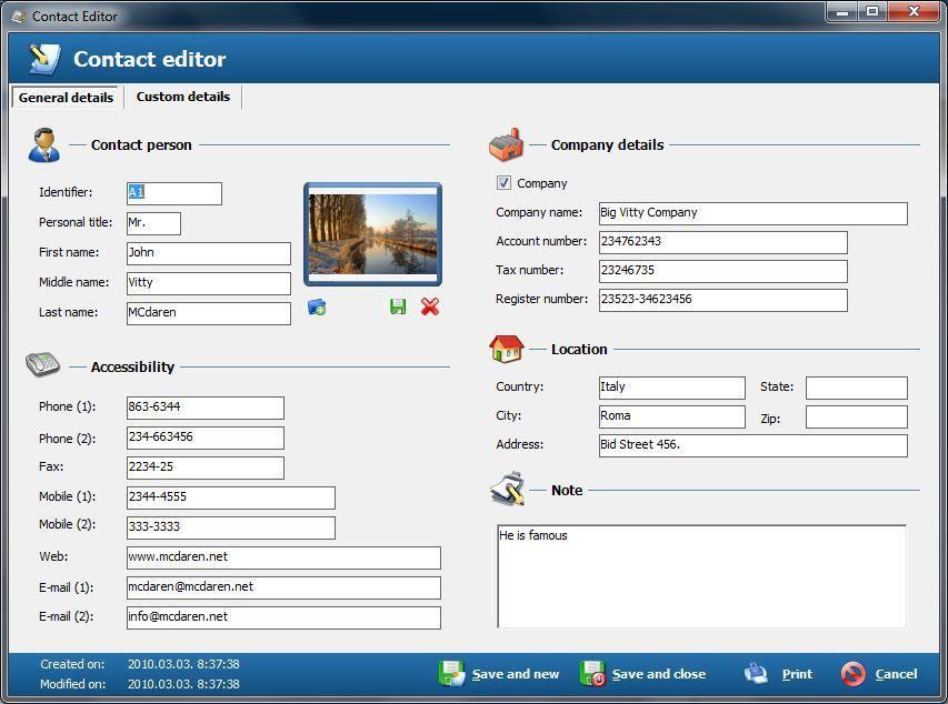 Free Address Book - Contact management screenshot - Windows 8 ...