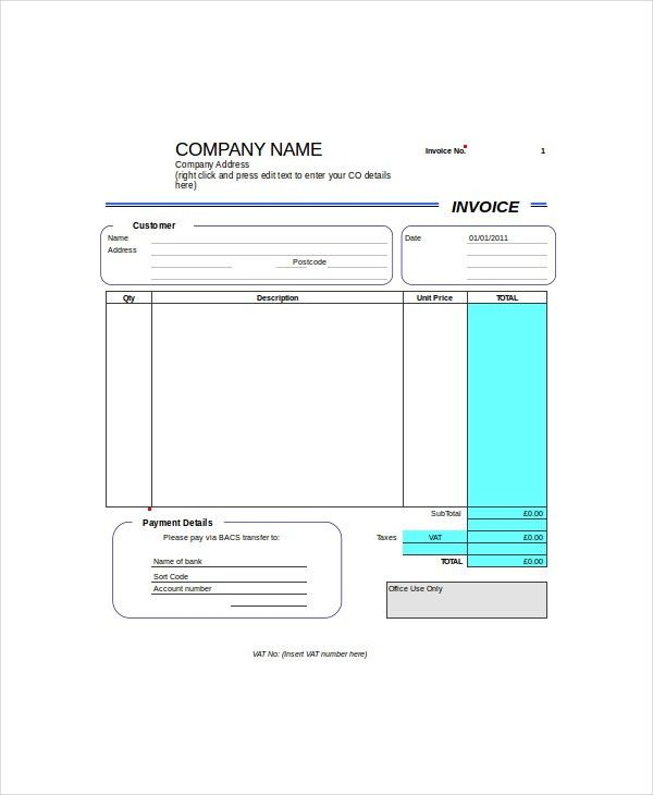 Self Employed Invoice Template - 8+ Free Word, Excel, PDF ...