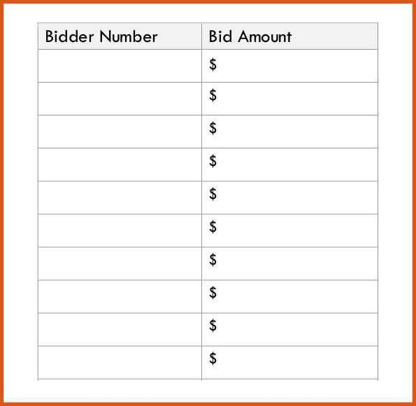 silent auction bid sheet | general resumes
