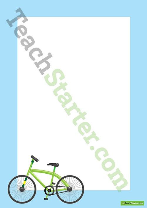 Bike Transport Page Border - Word Template Teaching Resource ...