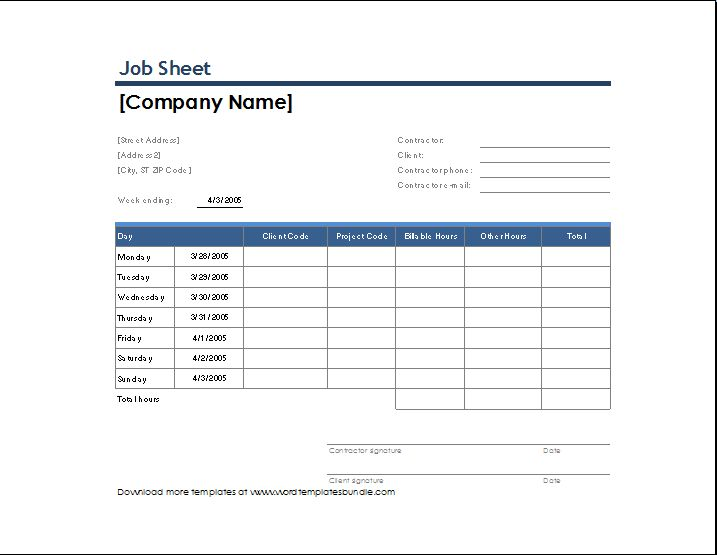 Sample Job sheet Template for Excel | Formal Word Templates