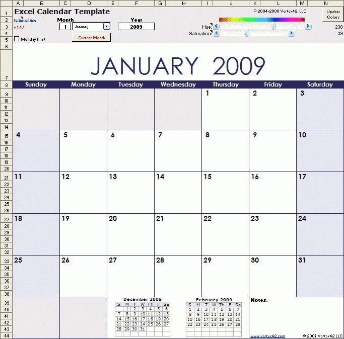 Excel Calendar Template - vnzgames