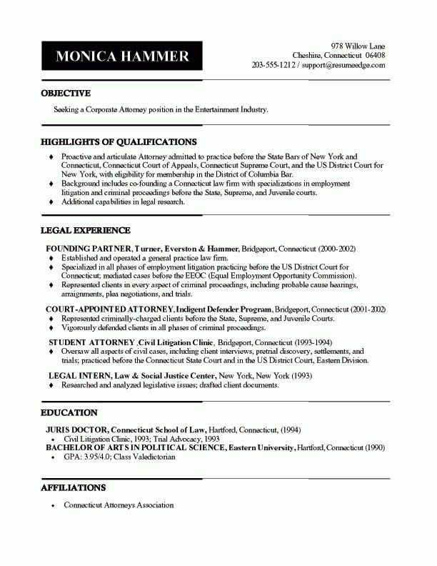 Legal Resume Sample | The Best Resume