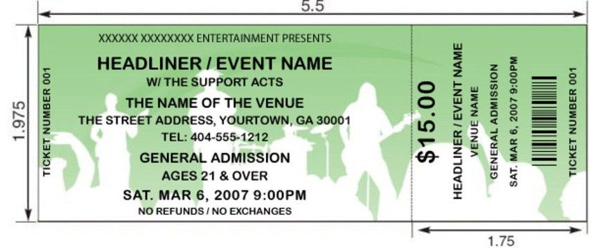Interesting Concert Ticket Template Example with White Silhouette ...