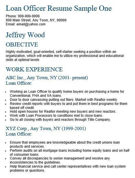 loan officer sample resumes