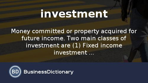 What is investment? definition and meaning - BusinessDictionary.com