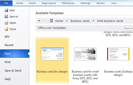 Create & print Business Cards in MS Word