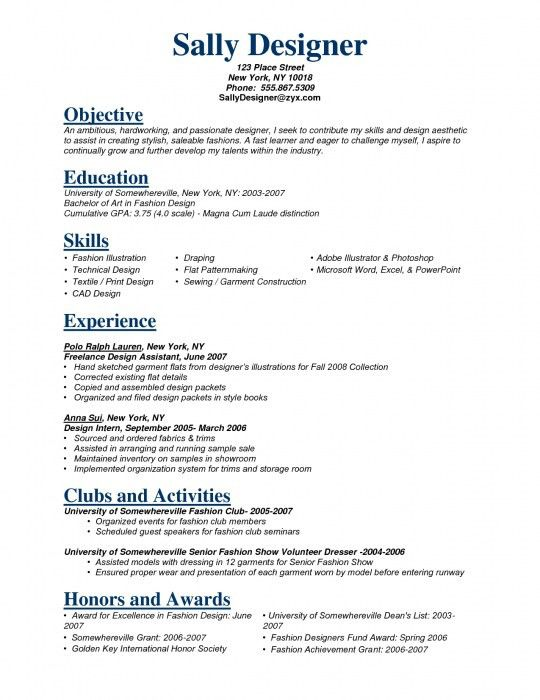 interior design resume sample