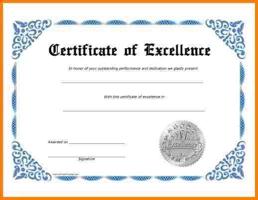 8+ certificate of excellence template | resume reference