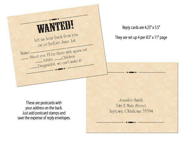 Tara D'Arcy Designs - Wanted Poster Printable Wedding Invitations ...