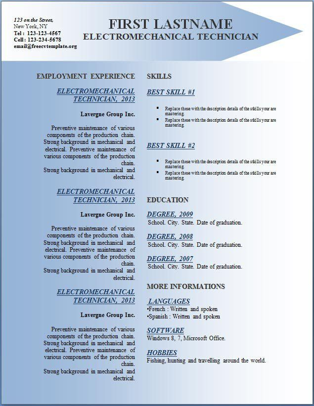 Free CV Resume Templates #142 to 148 – Free CV Template dot Org