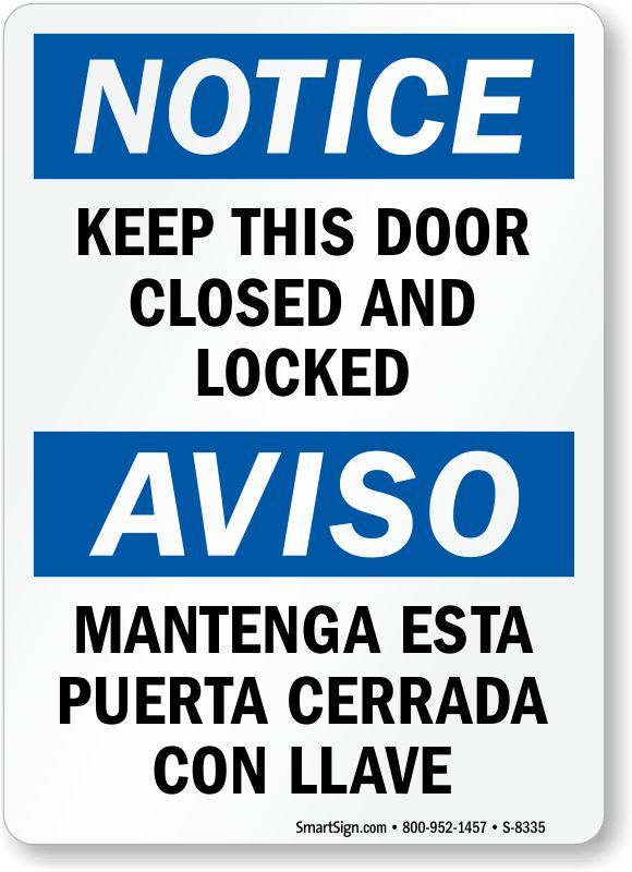 Lock Doors Signs
