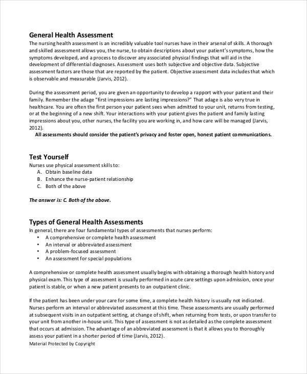45+ Sample Health Assessment Form