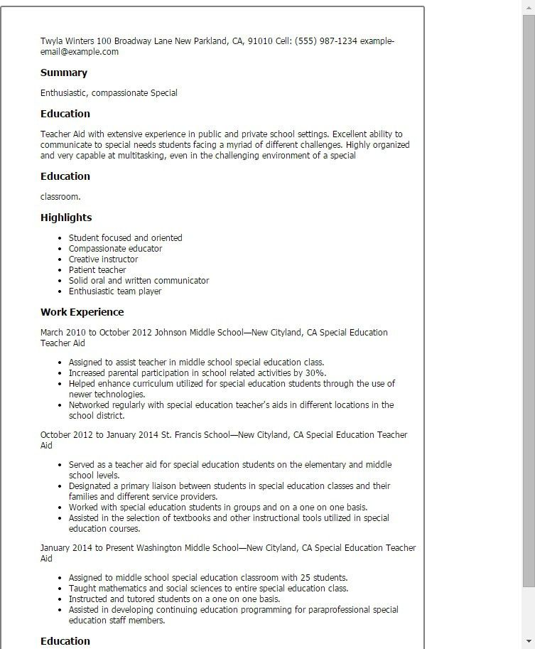 Classroom Assistant Resume. best assistant teacher resume example ...