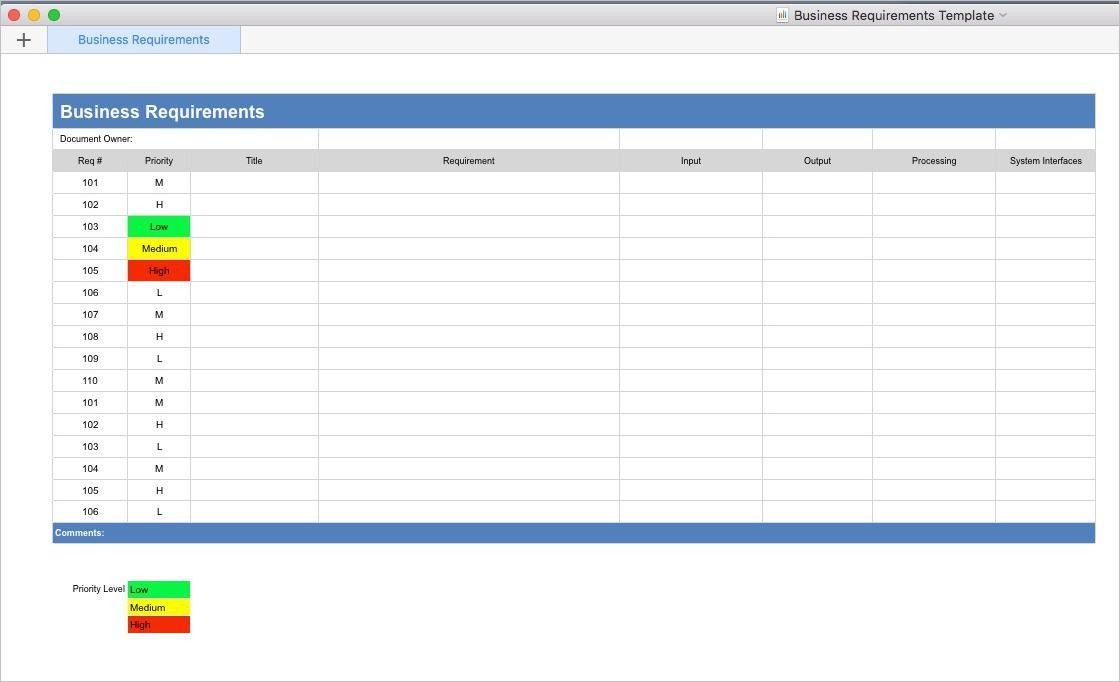Business Requirements Template (Apple iWork Pages/Numbers)