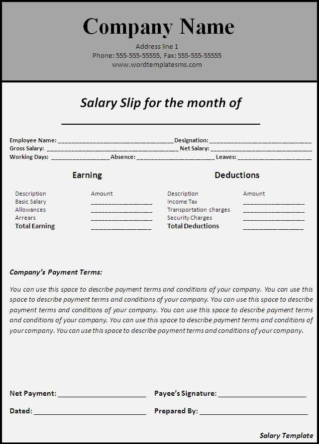 Elegant Template of Salary Slip for Monthly Payment Period with ...
