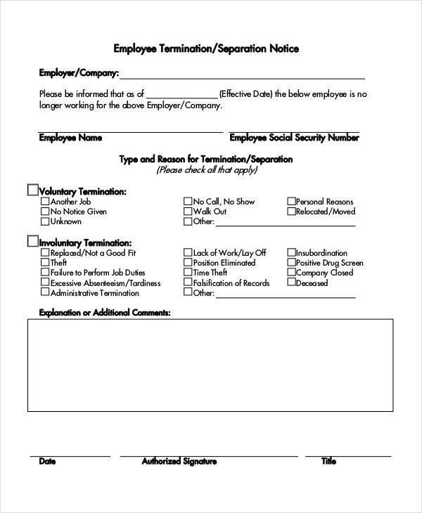 Separation Notice Template - 13+ Free Word, PDF Document Downloads ...