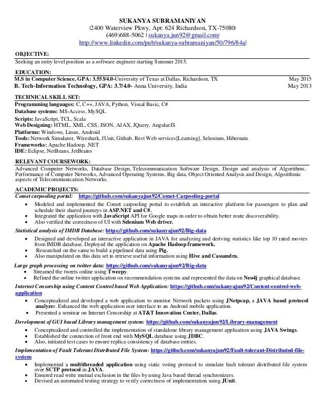 Free Download Entry Level Midlevel Software Engineer Resume ...
