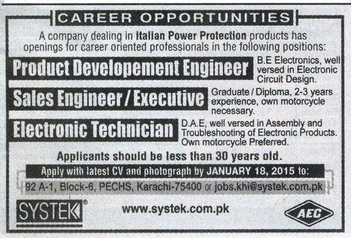 Production Development engineer Job in Systek Italian Power ...