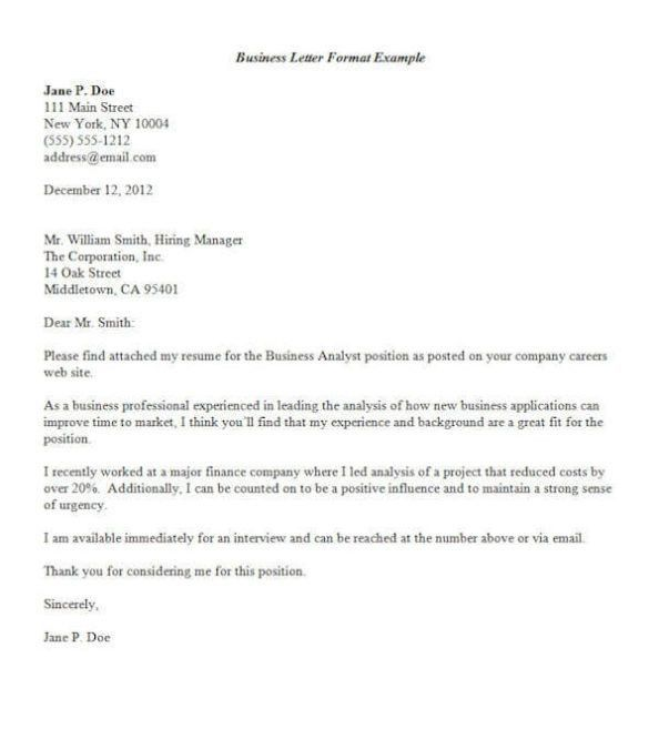 Business letter Format Sample & Example | Calendar Template Letter ...