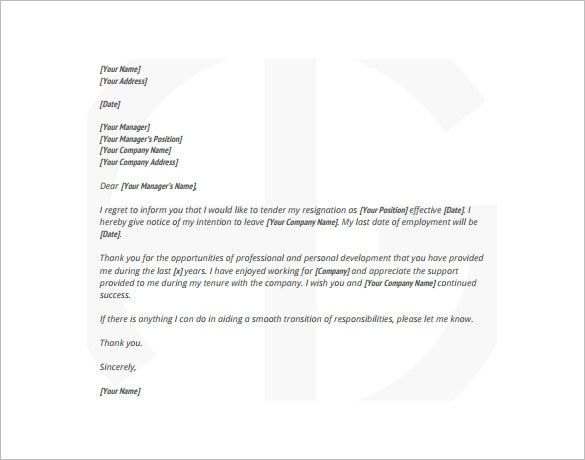 Cover Letter Sample Letters Of Resignation Sample Letters Of ...
