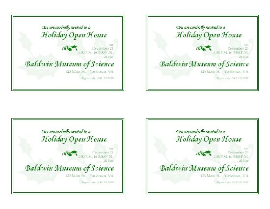 Holiday open house invitation (4 per page) - Office Templates