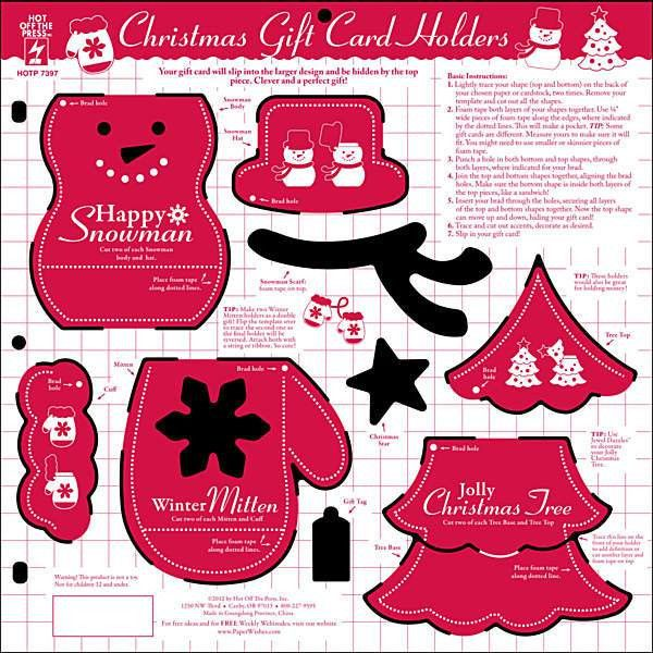 Hot Off The Press - 12x12 Template - Christmas Gift Card Holders